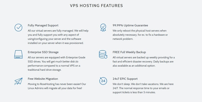 RoseHosting features